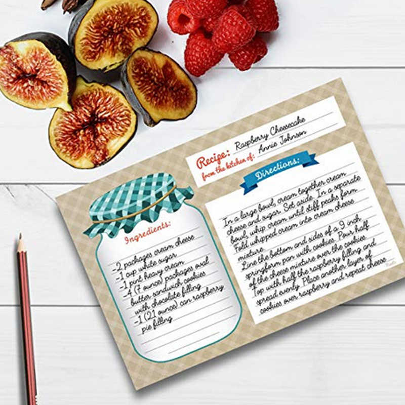 Home Kitchen Recipe Cards Double Sided 4x6 Inches Perfect For House Warming Parties Invitations Party Or Wedding