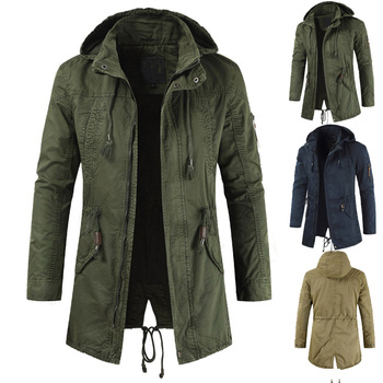New dropshipping Men Jackets Man Trench Breasted Outerwear Casual top Coat military Windbreaker fashion windproof clothing