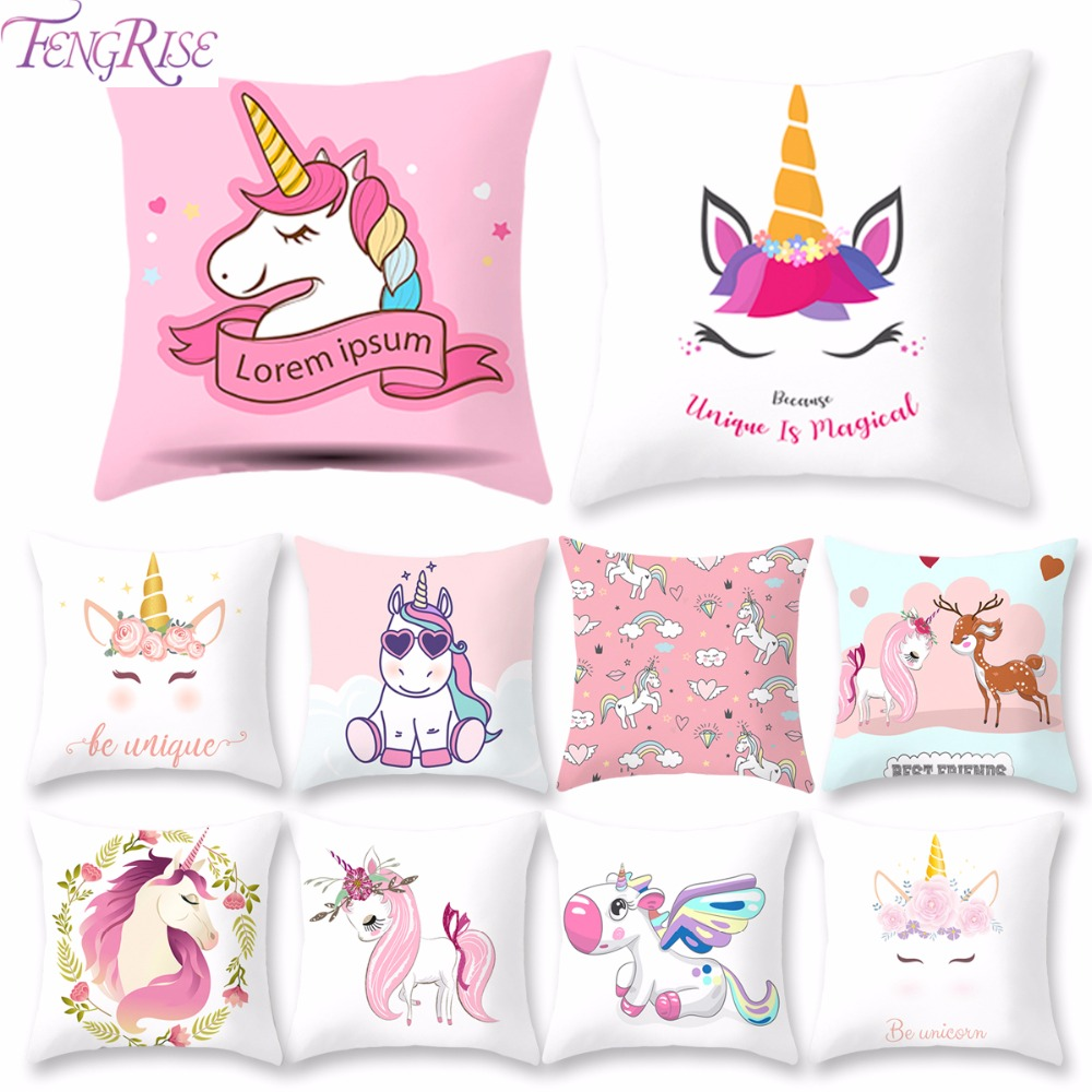 FengRise 45x45cm Unicorn Cushion Cover Unicorn Party Decoration DIY Unicorn Birthday Decor Unicornio Pillow Case