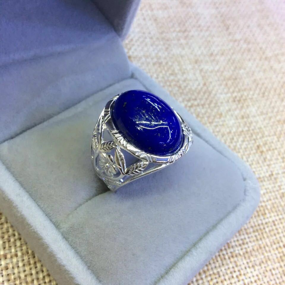 Ornements en argent dans le S925 argent Sterling incrusté naturel Afghan Lapis Lazuli fleurs creux anneau ouvert