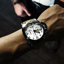 Megir Mens Chronograph Luminous Quartz Watches with Calendar Date Round Analog Military Leather Strap Wristwatch Man ML3406G