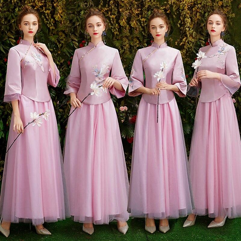Tiktok style Chinese traditional   Evening     Dresses   long Embroidery prom   dress   senior graduation prom gown 2019 Vestido De Noiva