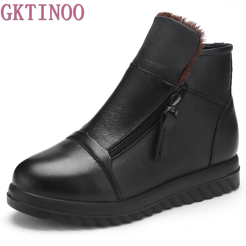 GKTINOO Winter Shoes Women Flats Ankle Boots Woman Fashion Genuine Leather Boots Mother Casual Warm Plush Snow Boots SIZE 35-41 fedonas top quality winter ankle boots women platform high heels genuine leather shoes woman warm plush snow motorcycle boots