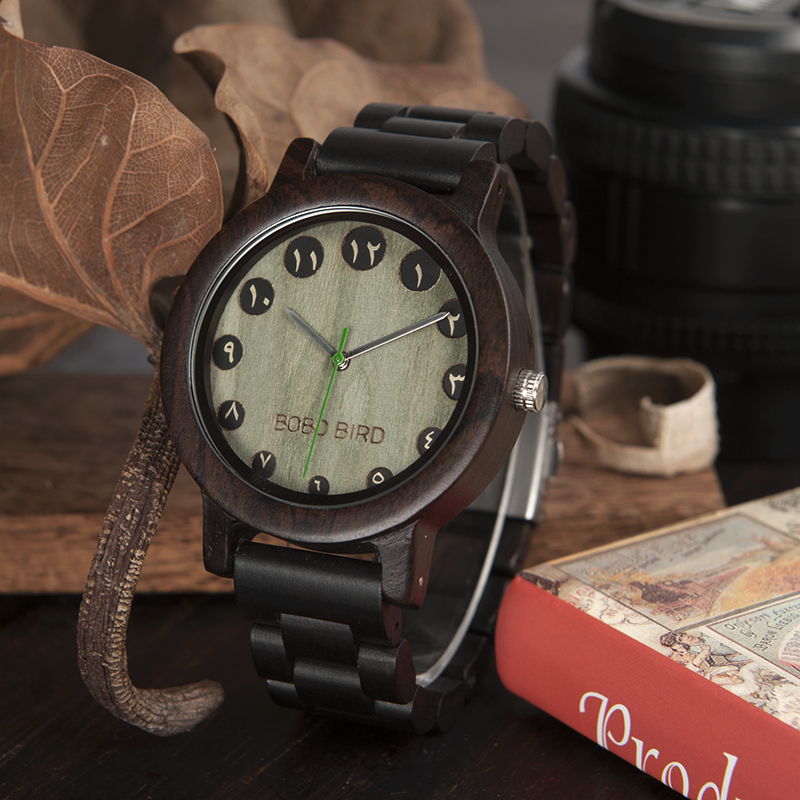 BOBO BIRD Men Watch Arabic Numerals Display Quartz Bamboo WristWatch relojies hombre clock as Gift in wood box custom logo bobo bird men s wooden watch with all wood strap quartz analog with diamond relojes hombre gifts in wood box custom logo