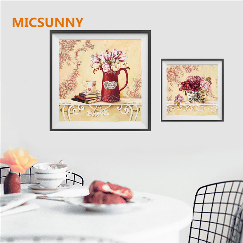 Micsunny nordic art modern giclee prints multi flowers pictures photo paintings print on canvas wall art for home wall decor in painting calligraphy from
