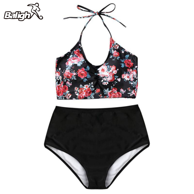 2018 Women Push Up Swimsuit Bikini Swimwear Female Sexy High Waist  Bikini Set Beach Wear Vintage Bathing Suit Retro Floral Prin plus size new bikinis 2017 women swimsuit high waist bathing suit swimwear push up bikini set vintage retro beach wear 2xl skirt