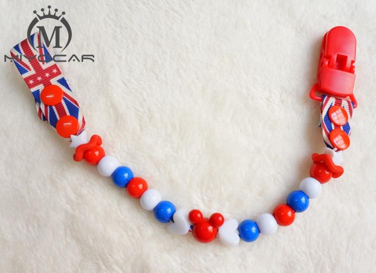 MIYOCAR Smukke dejlige perler håndlavede blå og røde perler pacifier klip Teethers clip pacificator holder Dummy clip