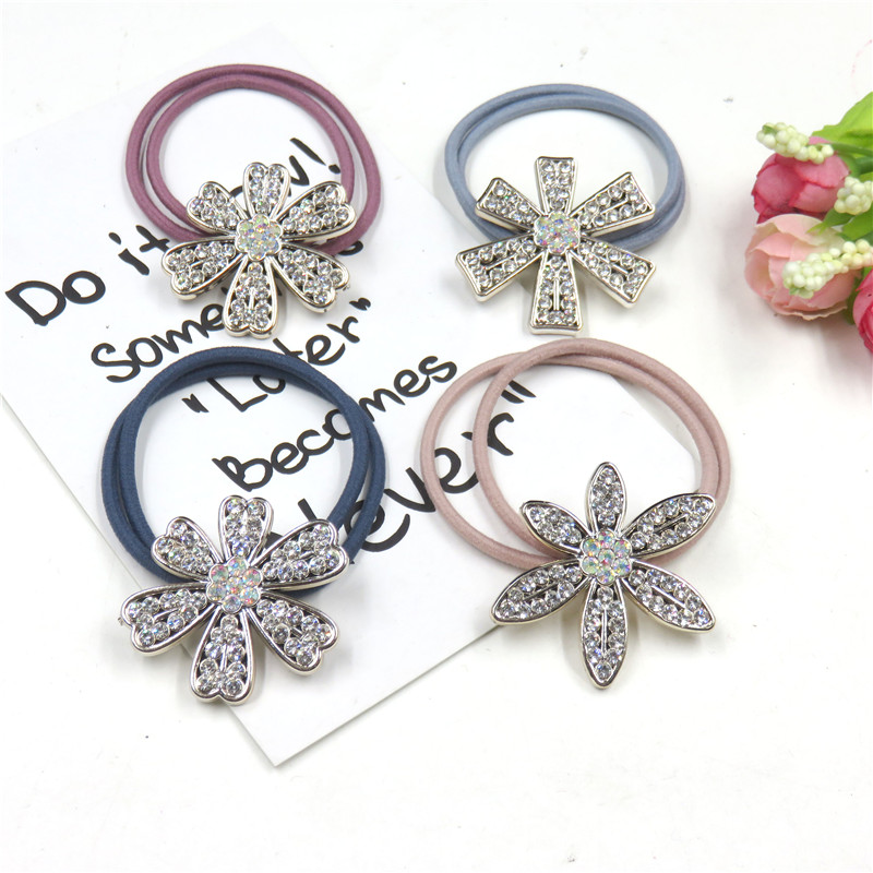 1PCS Pretty Diamond Flower Elastic Hair Bands Bow For Girls Handmade Hair Tie Scrunchy Kids Creative Hair Accessories For Women