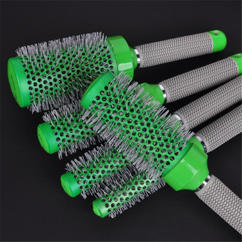 5in1 Salon Vert Ronde Cheveux Curling Brosse Professionnel De Coiffure Bigoudi Peigne Pour Barbiers Styling Outil