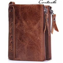 Brand Double Zipper Men Wallets Large Capacity Vintage Genuine Leather Wallet Men's clutch Male Purse Coin Card Holder Wallets