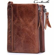 Brand Double Zipper Men Wallets Large Capacity Vintage Genuine Leather Wallet Men's clutch Male Purse Coin Card Holder Wallets