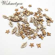 WISHMETYOU 50pcs Natural Wood Slices Leaves Flowers Butterfly Wooden Decor Scrapbooking Pattern Crafts Home Accessories New