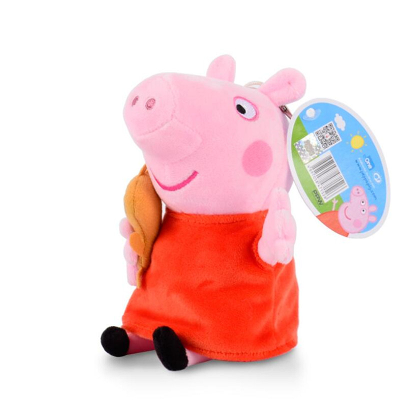 19 CM Original Peppa Pig Family George Dad Mom Plush Toys Stuffed Doll Pelucia Children Gifts
