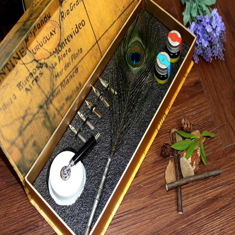 Natural Peacock Feather Dip Pen Set with Pen Holder Deluxe Feather Pen peacock feather floor antislip bath mat