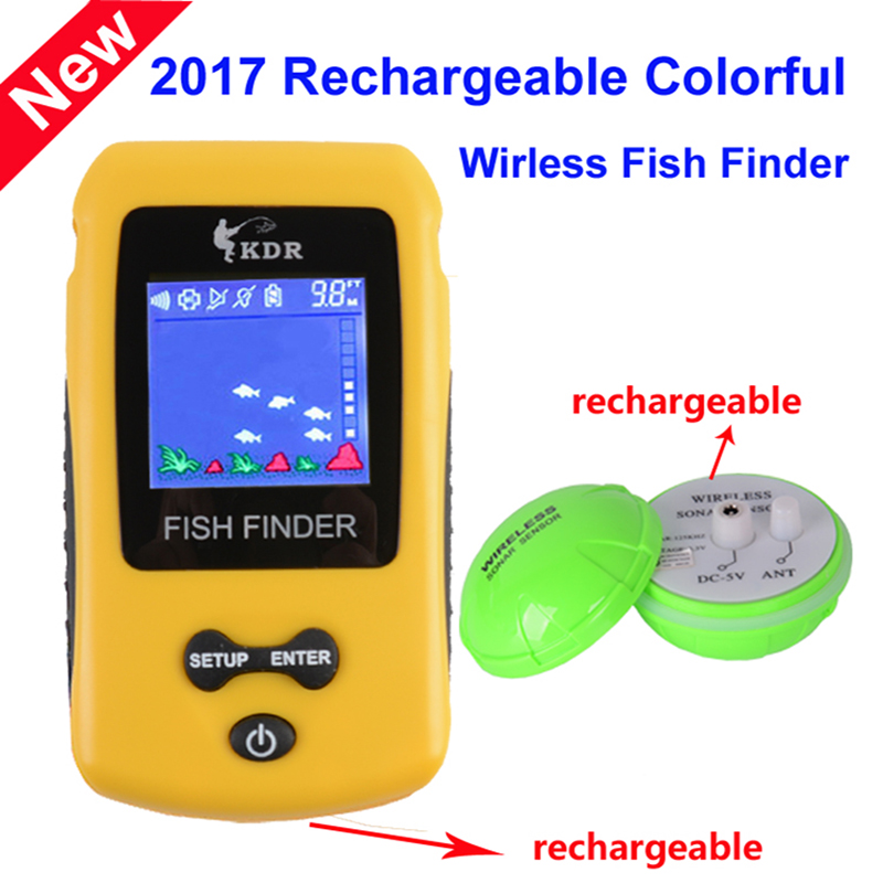 Free Shipping! Brand New KDR Colorful Wireless Fish Finder Sonar Sensor Transducer Depth Echo Sounder Recharged Battery free shipping new dolphin fish shaped fish demersal fish mouse pig nosed turtle crystal shrimp feed 330g 1100ml
