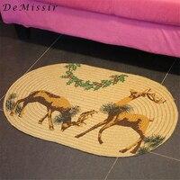 DeMissir 50x100cm Jute Linen Braided Oval Carpet Floor Woven Deers Garland Door Mat For Living Room