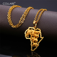 Collare African Map Elephant Necklaces Pendants Gold Silver Color Wholesale Africa Lucky Men Jewelry Necklace Women