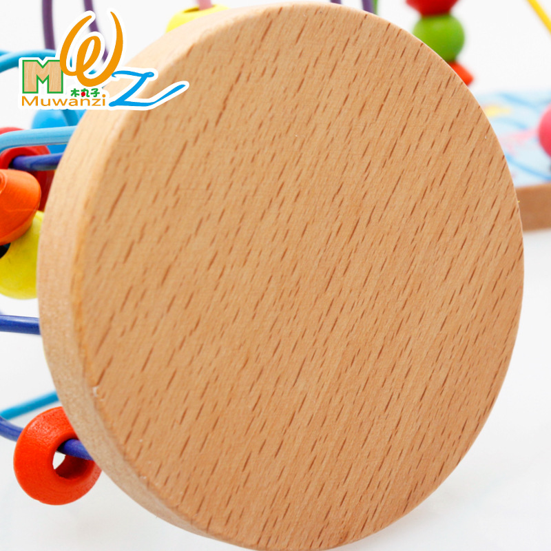 beads math montessori Wooden Toys Boys Girls  Wooden Circles Bead Wire Maze Roller Coaster Educational Wood Puzzles Kid Toy