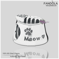 Autumn Authentic 925 Sterling Cat Bowl Silver Charm With Cubic Zirconia Fashion Fits Pandora Style Bracelets