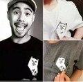 2017 Women t shirt Print Middle Finger Pocket Cat T-shirt summer Ripndip Cotton Couple tees tops clothing Cat Lover Women Top
