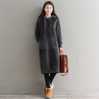Mori Girl Style Dress Autumn Winter Warm Thick Hoodies Women Preppy Vintage Velvet Long Sleeve Split