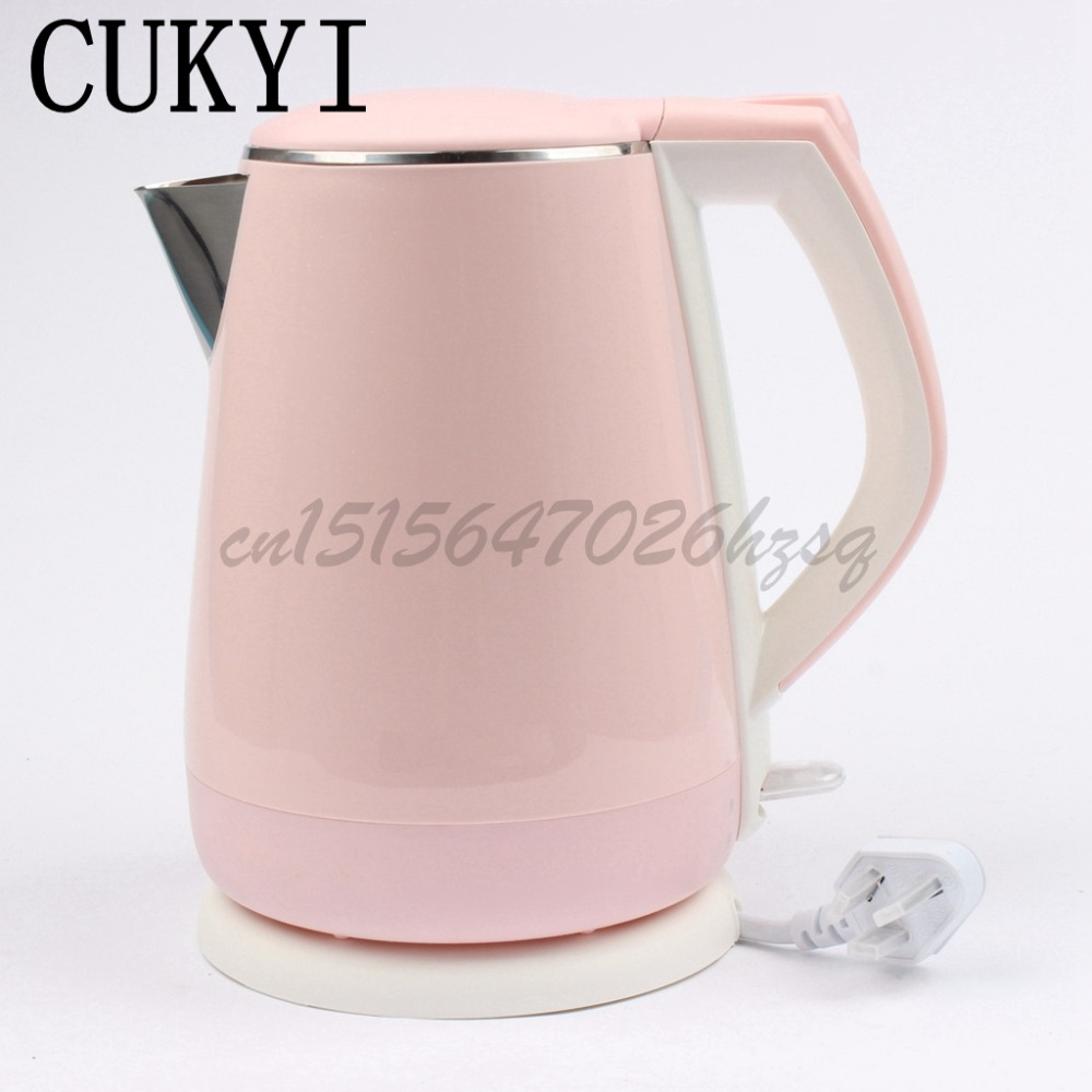 CUKYI Household electric kettle insulation 304 stainless steel  Boil 4 minutes Auto power off  temperature control cukyi stainless steel 1800w electric kettle household 2l safety auto off function quick heating red gold