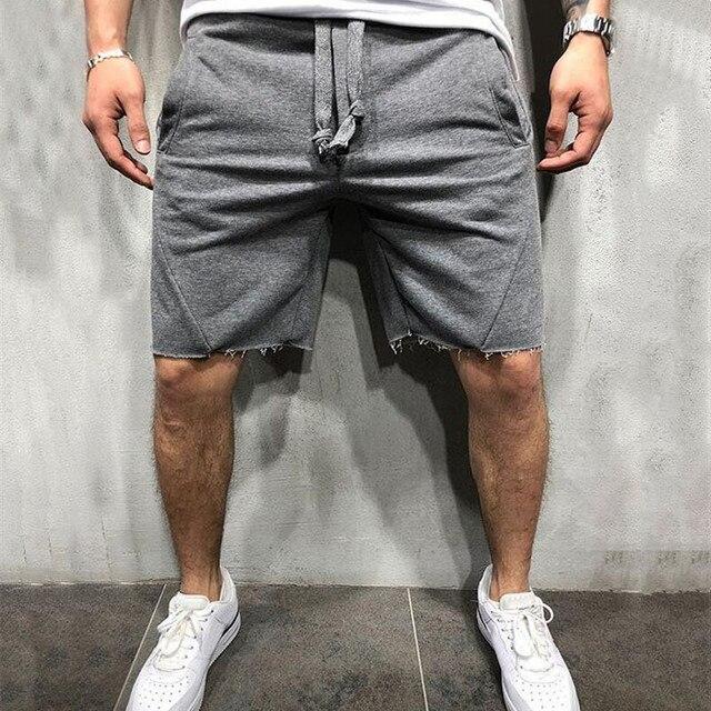 YEMEKEMen 2019 Summer Loose Cotton Shorts Man Gyms Fitness Knee Length Sweatpants Male Jogger Workout Crossfit Brand Short Pants