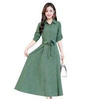 Autumn Long Sleeve Cotton Linen Shirt Dress Women Fashion Elegant Plus Size Long Dress Robe Femme Maxi Woman Dress Jurken C4926