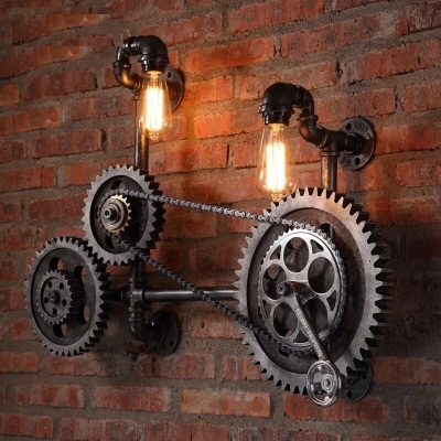 Loft Style Iron Water Pipe Lamp Edison Wall Sconce Wood Axle Gear Wall Light Fixtures Home Indoor Vintage Industrial Lighting карандаш для бровей touch in sol brow expert bar 2 цвет 02 brownie brown variant hex name 2c1a0c
