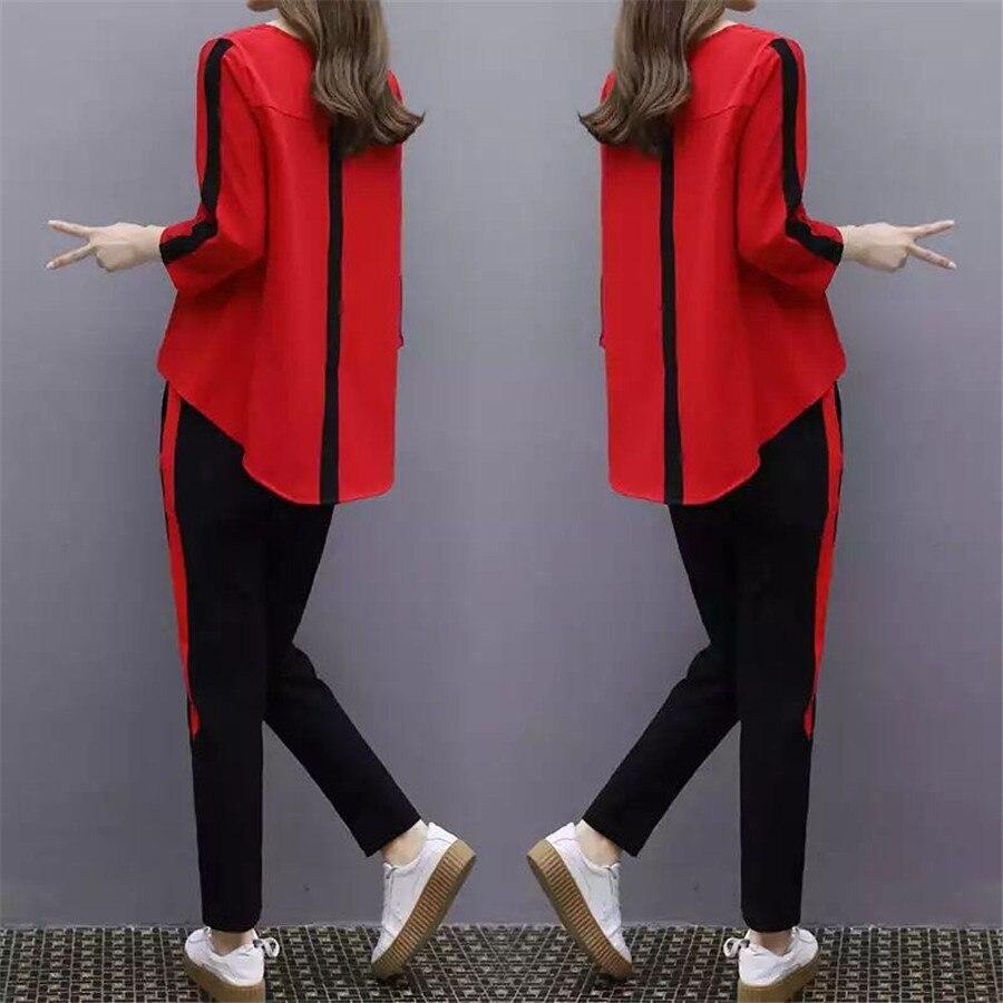 Plus Size Grande L-4XL Outfit Treino Sportswear Co-ord Definido para As Mulheres 2019 Top e Calça Babados roupas listradas