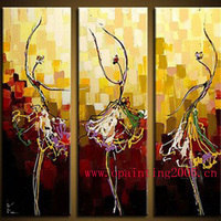Abstract Ballet Painting Pure Hand Painted Oil Painting on Canvas Group Abstract Dancer Support Customizing Painting as Art Gift