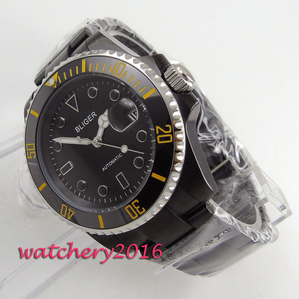 40mm Bliger sapphire glass black dial PVD case ceramic bezel luminous marks miyota automatic movement Men's watch