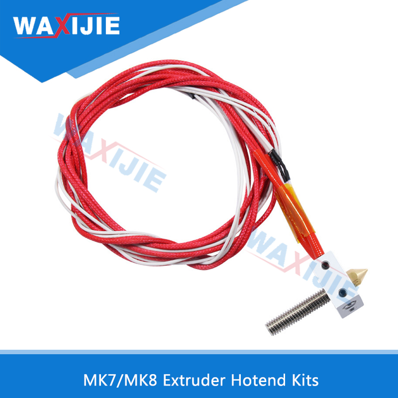 5Pcs/Lot MK7/MK8 Extruder Hotend Kits With Heated Block M6*30mm Throat 1.75/0.4mm Nozzle 12V40W Cartridge Heater 3D Printer Part