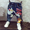 Nuevo 2017 Muchachas de Los Bebés Pantalones Vaqueros de Dibujos Animados Del Gato y el Ratón 2-7yrs Niños Jeans Ropa de Marca Niños Niños Jeans Niños Ocasional pantalones