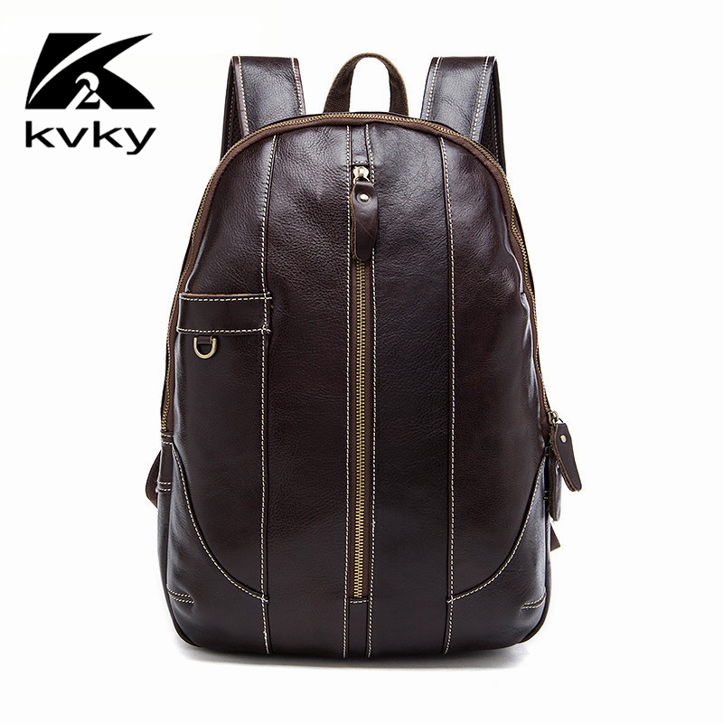 KVKY Fashion Men Backpack Genuine Leather Luxury Brand Travel Bags Men Laptop Bag Vintage Casual School Backpacks for Teenagers famous brand luxury men backpack genuine leather vintage mochila black men sport double shoulder bag men s backpacks bp00042