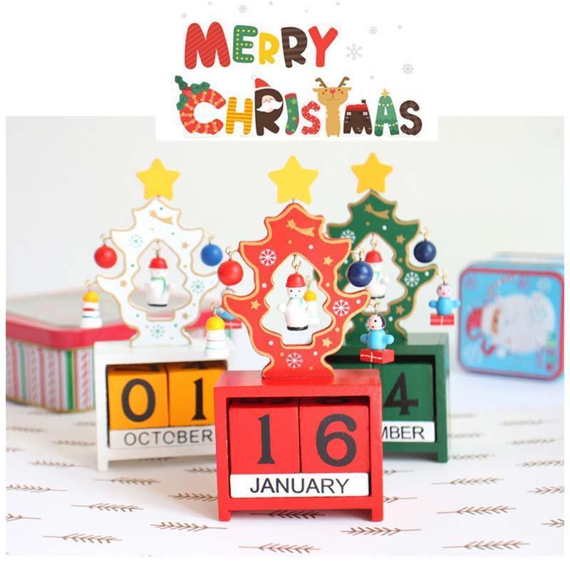 unid calendario rbol de navidad adornos artesanales de bloques de madera herramienta de aprendizaje para