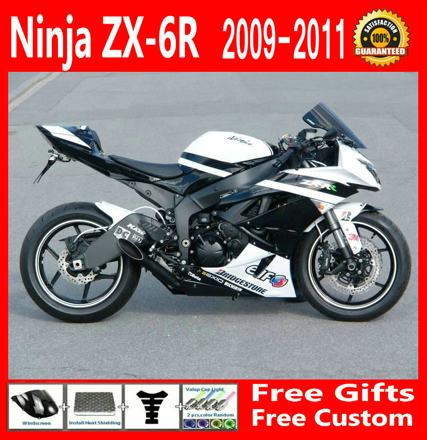 Sale!!! White ZX6R 2009 2010 2011 Fairing kit For Kawasaki NINJA ZX-6R 09 10 11 (EMS free) Fairings g43 black moto fairing kit for kawasaki ninja zx14r zx 14r zz r1400 zzr1400 2006 2007 2008 2009 2010 2011 fairings custom made c549
