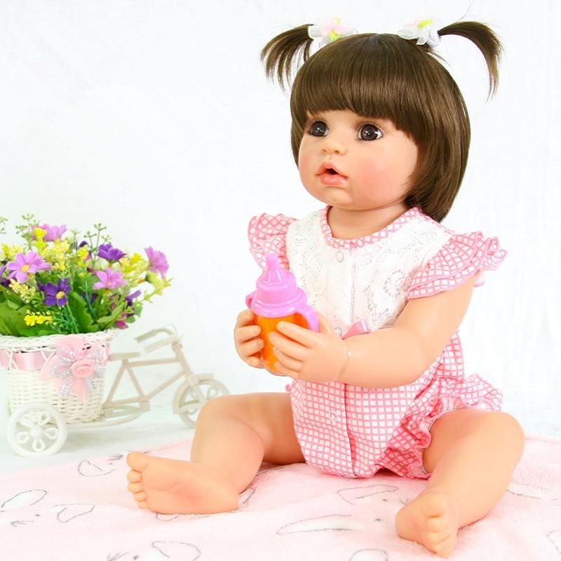 55 см полный корпус силиконовая кукла реборн для девочек виниловая новорожденная принцесса младенцы кукла подарок на день рождения ребенок ...