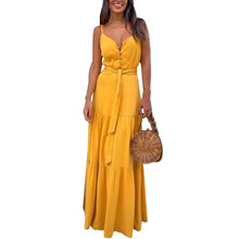 Fashion 2019 Summer Women Long Maxi Dress Boho Party Beach Dresses Belt Spaghetti Straps Sundress