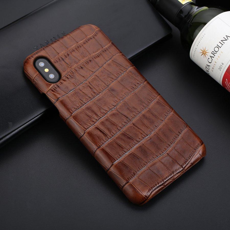 Couro genuíno caso capa traseira para iphone x xs 11 pro max xr 7 8 plus crocodilo grão coque artesanal clássico capas de couro real
