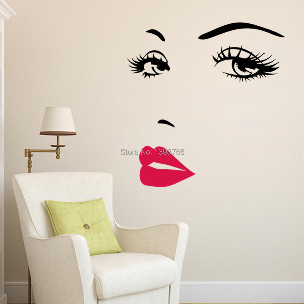 Diy beautiful face eyes and lips wall art sticker 8469 for Sticker deco