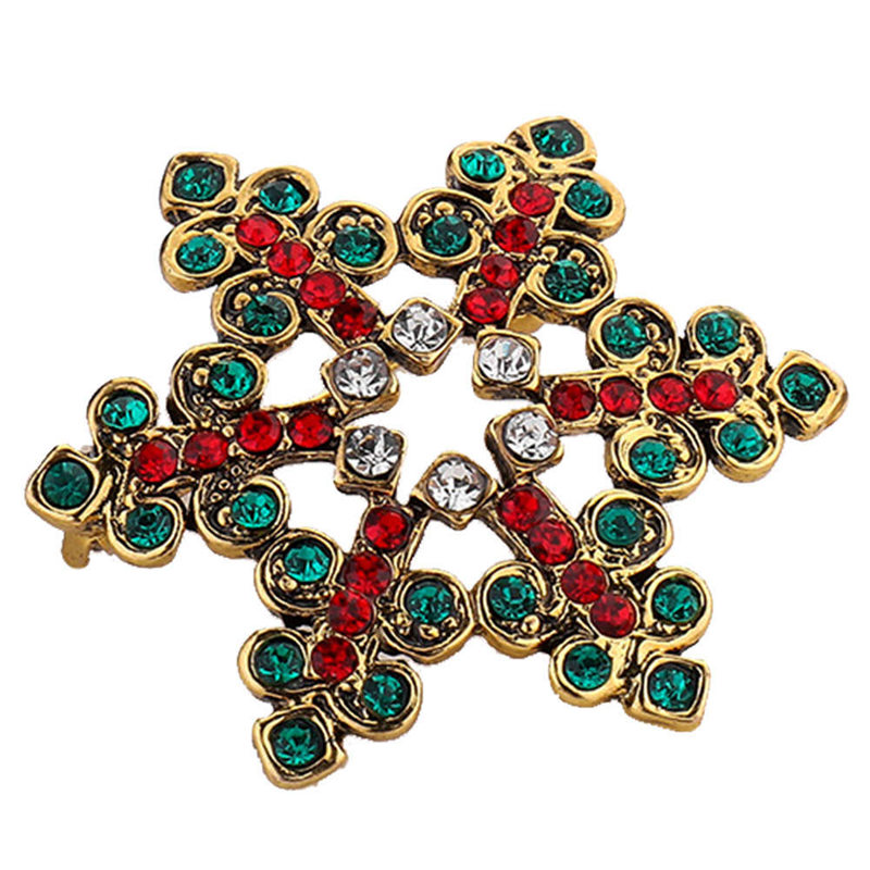 2019 Christmas Vintage Brooch Pin Crystal Big Snowflake Winter Snow Theme Christmas Brooches