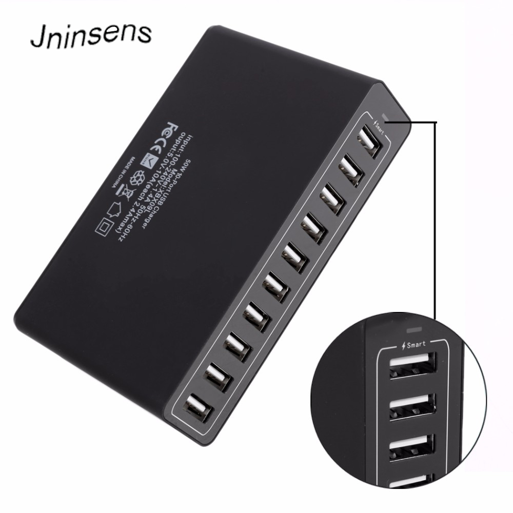 10A 50W 10 Port USB Power Charging Hub PowerPort Multi-Port Charger EU US UK Standard Smart Multi Protect VoltageBoost
