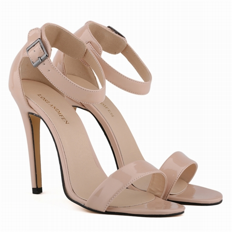 LOSLANDIFEN Summer Ankle Straps Sandals Women Open Toe Buckle High Heels Shoes Ladies Party Wedding Casual Sandals Red 102-3PA summer causal open toe buckle high heeled thick waterproof platform sandals for women