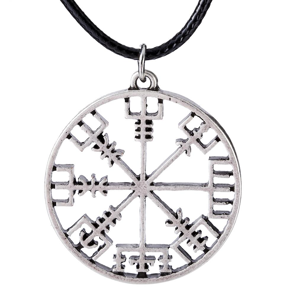 Reenactment Norse Pendant Solid Rune Jewelry Rustic Viking Compass Vegvisir Necklace LARP SCA Asatru Nordic Pagan Jewelry Viking