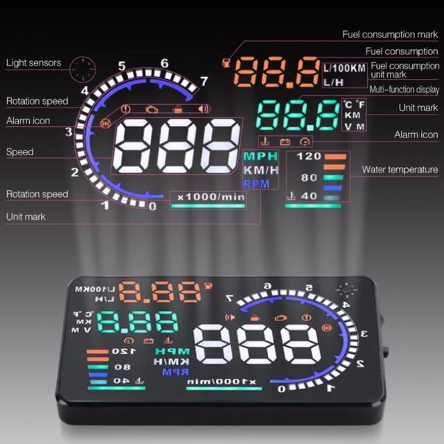 """A8 5.5 """"Head Up Display hud Car Parabrisas Proyector Vehículo OBD II Consumo de Combustible Del Coche de Advertencia de Velocidad de Conducción de Datos de Diagnóstico"""