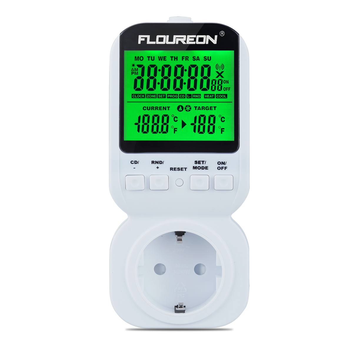 Floureon Multi-functional Thermostat Timer Switch Socket Plug ON/OFF Control 12H/24H for Heat and Cool Electrical Appliances