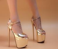 Новые Брендовые женские босоножки на высоком каблуке, обувь на платформе, пикантные золотистые и серебристые женские туфли-лодочки принцес...