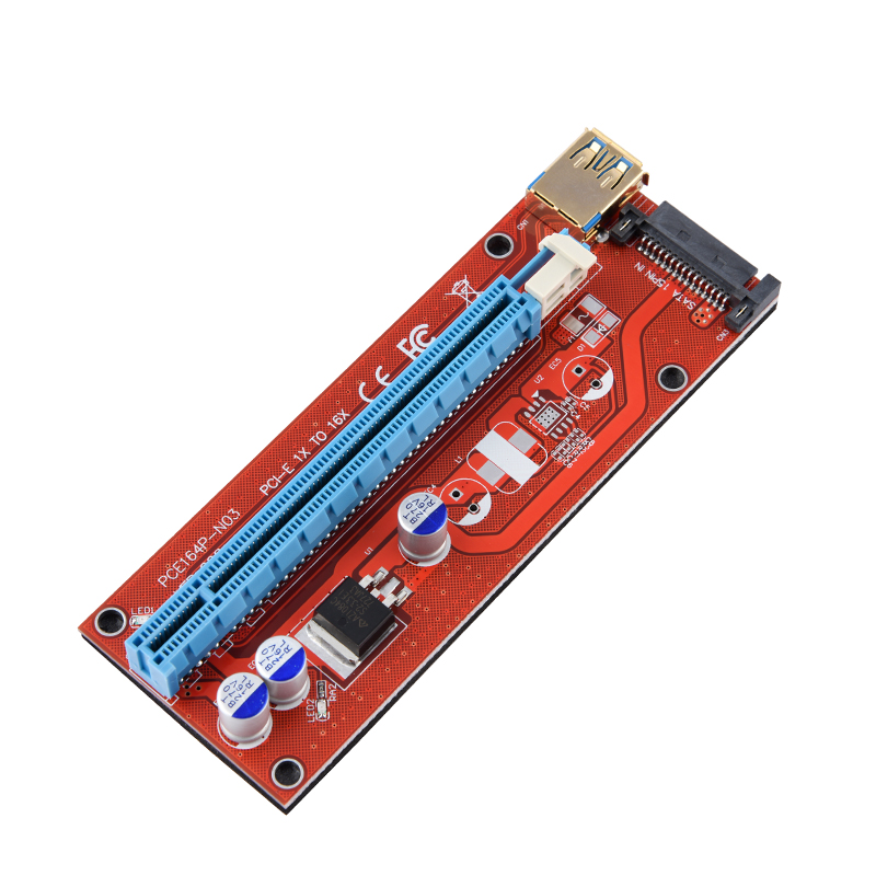Analytical 10pcs Riser 008 Red Board 3 Led Pci Express Riser Card Pci-e 1x To 16x Extender Adapter Card Usb 3.0 Cable For Btc Miner Machine Promoting Health And Curing Diseases Computer & Office