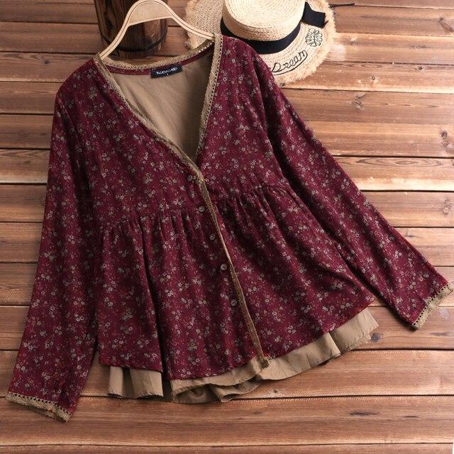 c3c8edada917d FLORHO Women Floral Blouse Vintage Lace Shirt V-Neck Boho Cardigan Button  Cotton Linen Loose Tops blusa feminina Plus Size L-5XL
